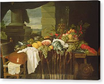 Banquet Still Life Oil On Canvas Canvas Print