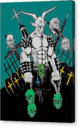 Horror Fantasy Movies Canvas Print - Baphomet Graveyard by Alaric Barca