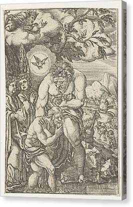 Baptism Of Christ In The Jordan, Monogrammist Ac 16e Eeuw Canvas Print