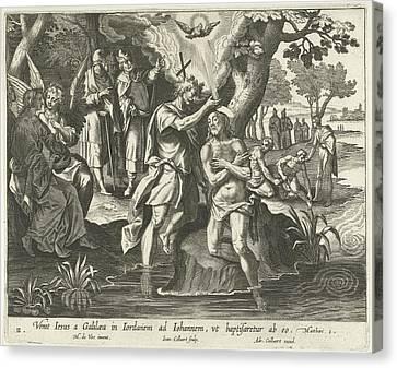 Baptism Of Christ, Jan Collaert II, Adriaen Collaert Canvas Print by Jan Collaert (ii) And Adriaen Collaert