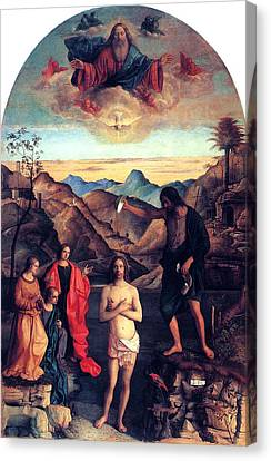 Canvas Print featuring the painting Baptism Of Christ With Saint John 1502 Giovanni Bellini by Karon Melillo DeVega