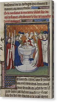Baptising Canvas Print - Baptism Of French King's Child by British Library