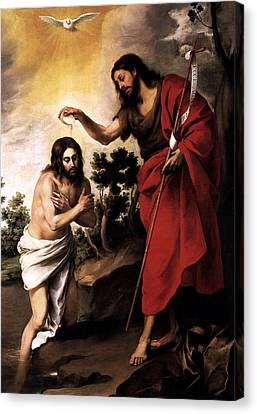 Canvas Print featuring the digital art Baptism Of Jesus Christ by Esteban Murillo