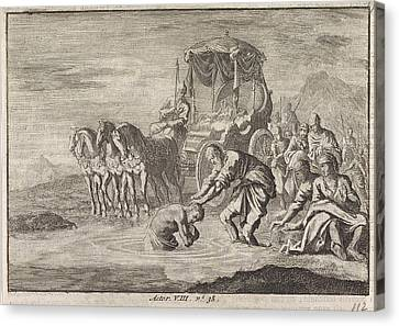 Baptism Of The Eunuch By The Apostle Philip Canvas Print by Jan Luyken And Pieter Mortier