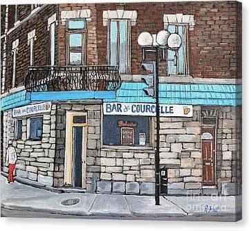 Bar De Courcelle St-henri Canvas Print by Reb Frost