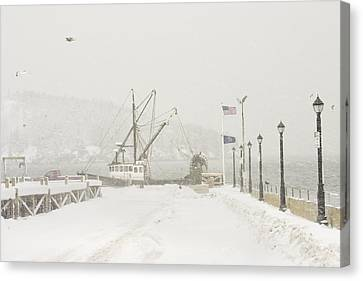 Bar Harbor Snowstorm And Fishing Boat Mount Desert Island Maine Canvas Print by Keith Webber Jr