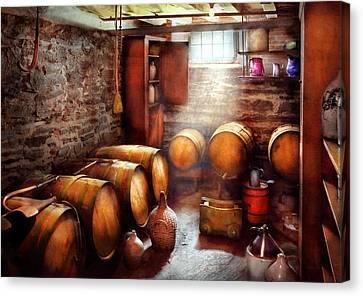 Bar - Wine - The Wine Cellar  Canvas Print by Mike Savad