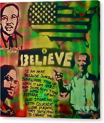 Barack And Martin And Malcolm Canvas Print