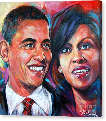 Barack And Michelle Obama Canvas Print by Anju Saran