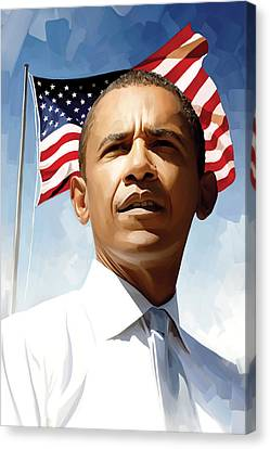 Barack Obama Canvas Print - Barack Obama Artwork 1 by Sheraz A