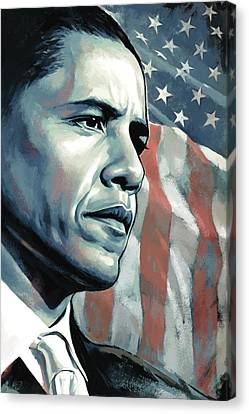 Barack Obama Artwork 2 B Canvas Print by Sheraz A