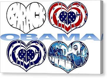 Barack Obama Love Canvas Print by Alexis Heath