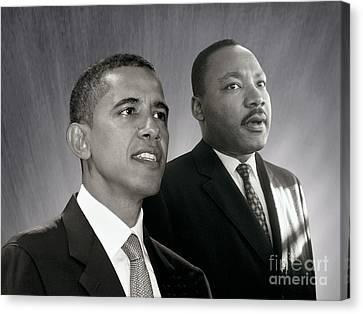 Canvas Print featuring the photograph Barack Obama  M L King  by Martin Konopacki Restoration