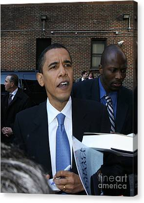 Barack Obama Nyc 4-9-07 Canvas Print by Patrick Morgan