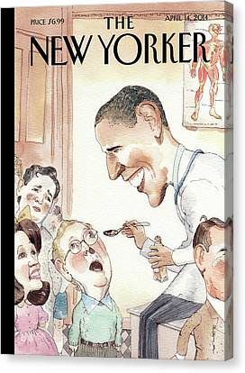 Health Canvas Print - Barack Obama Spoon Feeds Medicine by Barry Blitt