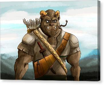 Canvas Print featuring the painting Baragh The Hoargg Warrior by Reynold Jay
