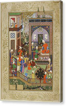 Barbad Playing The Lute Canvas Print by British Library