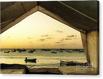 Canvas Print featuring the photograph Barbados Fishing Boats In Oistens by Polly Peacock