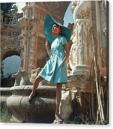 Villa Canvas Print - Barbara Bach Wearing Blue by Henry Clarke