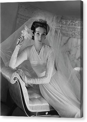 Barbara Cushing In Her Wedding Dress Canvas Print by Horst P. Horst
