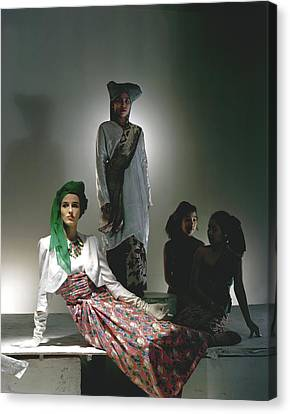 Barbara Cushing Wearing A Turban Canvas Print by Horst P. Horst