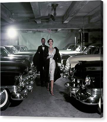 Fashion Model Canvas Print - Barbara Mullen With Cars by John Rawlings