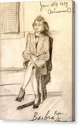 Barbara Waiting For Rehearsal  1939 Canvas Print