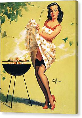 Barbecue Time - Retro Pinup Girl Canvas Print by Tilen Hrovatic
