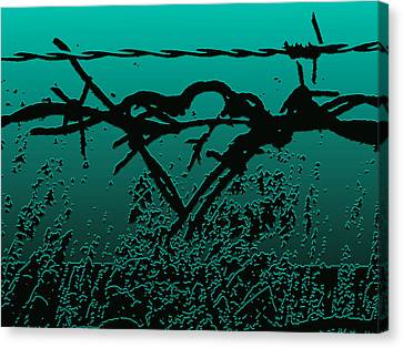 Love Canvas Print - Barbed Wire Love - Envy by Lesa Fine