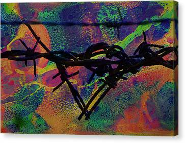 Barbed Wire Fences Canvas Print - Barbed Wire Love-punch Drunk by Lesa Fine