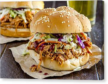 Barbeque Pulled Pork Sandwiches And Beer  Canvas Print