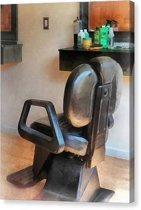 Barberchairs Canvas Print - Barber - Barber Chair And Hair Supplies by Susan Savad