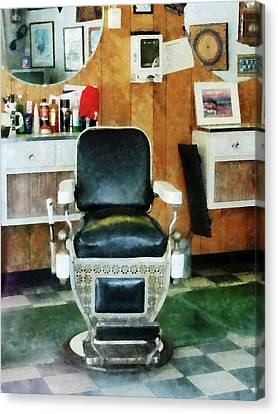Barber - Barber Chair Front View Canvas Print by Susan Savad
