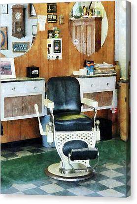 Barberchairs Canvas Print - Barber - Barber Shop One Chair by Susan Savad