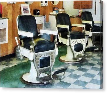 Barberchairs Canvas Print - Barber - Corner Barber Shop by Susan Savad