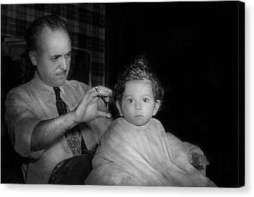 Hair Cuts Canvas Print - Barber - First Haircut by Mike Savad