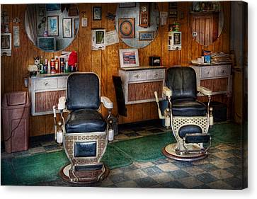 Barberchairs Canvas Print - Barber - Frenchtown Nj - Two Old Barber Chairs  by Mike Savad