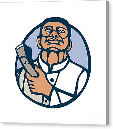 Barber Hair Clipper Scissors Circle Linocut Canvas Print