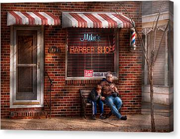 Barber - Metuchen Nj - Waiting For Mike Canvas Print by Mike Savad