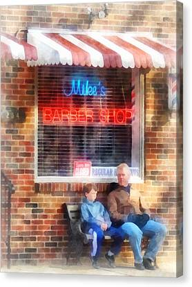Barber - Neighborhood Barber Shop Canvas Print by Susan Savad