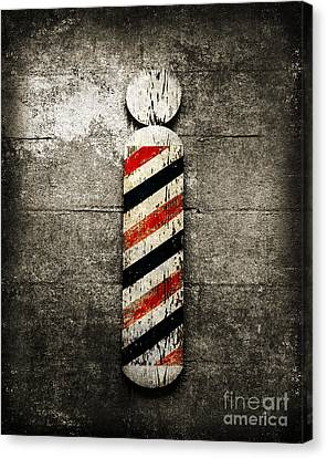 Hair Cuts Canvas Print - Barber Pole Selective Color by Andee Design