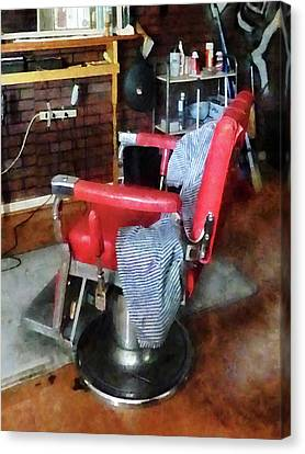 Barberchairs Canvas Print - Barber - Red Barber Chair by Susan Savad