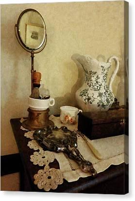Barber - Shaving Brush Mugs And Mirror Canvas Print by Susan Savad