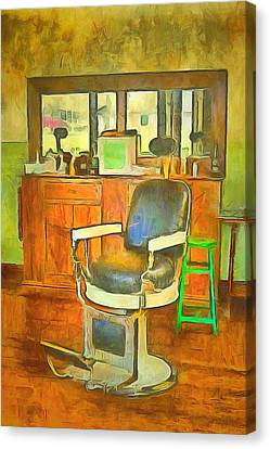 Barberchairs Canvas Print - Barber Shop  by L Wright