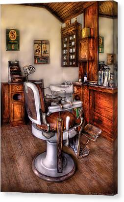 Barber - The Barber Chair Canvas Print by Mike Savad