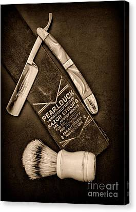 Barber - Tools For A Close Shave - Black And White Canvas Print by Paul Ward