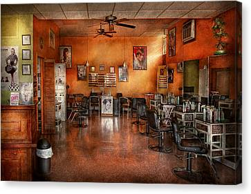 Empty Chairs Canvas Print - Barber - Union Nj - The Modern Salon  by Mike Savad