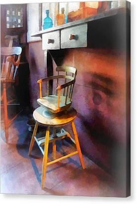 Barber - Vintage Child's Barber Chair Canvas Print by Susan Savad