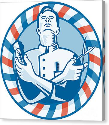 Barber With Clipper Hair Cutter And Scissors Canvas Print by Aloysius Patrimonio