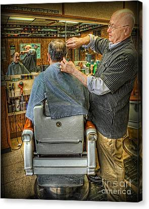 The Barber Shop Shave And A Haircut - Barber Shop Canvas Print by Lee Dos Santos